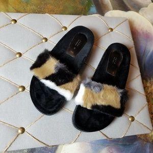 NWOT Zara Fur Slides